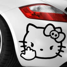 Hello Kitty f*ck you matrica, fekete