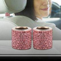 Autó fejtámla strassz dekor gyűrű, pink, 2db