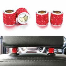 Autó fejtámla strassz dekor gyűrű, piros, 2db