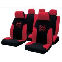 Fekete - piros pók mintás üléshuzat szett 9 részes
