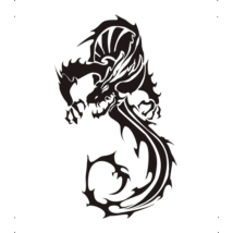 S alakú sárkány autó matrica fekete #261