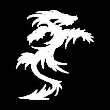 Kétszárnyú sárkány autó matrica fehér #281