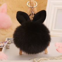 Pompom kulcstartóra, táskára akasztható nyuszi füles szőrme dísz fekete
