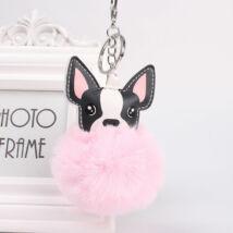 Francia bulldog alakú pompom kulcstartó rózsaszín