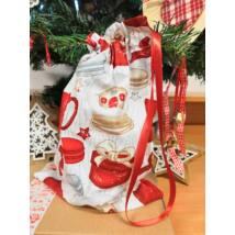 Pamut ajándék zsák, karácsonyi 32*20 cm