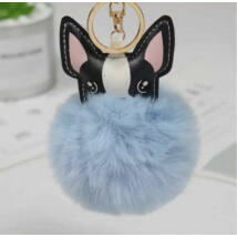 Francia bulldog alakú pompom kulcstartó kék