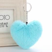 Pompom kulcstartóra, táskára akasztható szív alakú szőrme dísz azúr kék