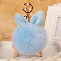 Pompom kulcstartóra, táskára akasztható nyuszi füles szőrme dísz kék