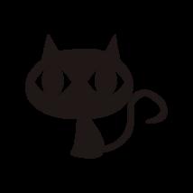 Nagyfejű macska autó matrica fekete #405