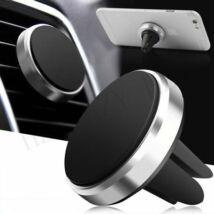 Mágneses, szellőzőrácsba illeszthető mobiltartó ezüst
