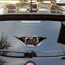 Mopszos 3D autó matrica