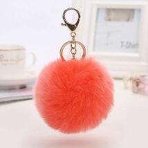 Pompom kulcstartóra, táskára akasztható szőrme dísz  narancssárga