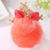 Pompom kulcstartóra, táskára akasztható nyuszi füles szőrme narancssárgasárga