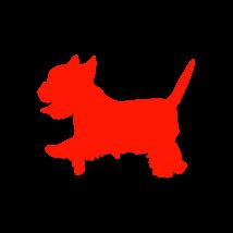 Yorki  kutya autó matrica piros #175