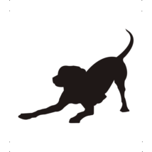 Játékos kutya autó matrica fekete #186