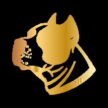 Amstaff kutya autó matrica arany #214