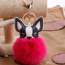 Francia bulldog alakú pompom kulcstartó pink