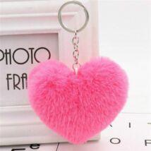 Pompom kulcstartóra, táskára akasztható szív alakú szőrme dísz pink
