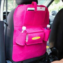 Autóülés háttámla védő tároló zsebekkel HOT PINK
