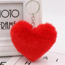 Pompom kulcstartóra, táskára akasztható szív alakú szőrme dísz piros
