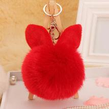 Pompom kulcstartóra, táskára akasztható nyuszi füles szőrme dísz piros