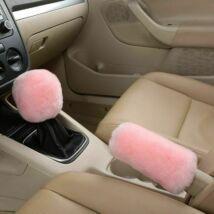 Plüss kézifék és váltókar huzat, pink