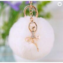 Pompom kulcstartó, strassz balerina díszítéssel fehér