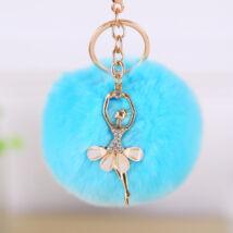Pompom kulcstartó, strassz balerina díszítéssel kék