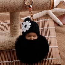 Alvó babás alakú pompom kulcstartó fekete
