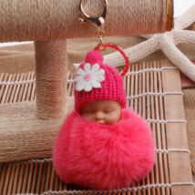 Alvó babás alakú pompom kulcstartó pink
