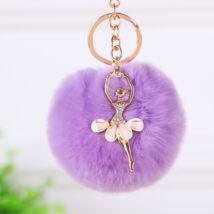 Pompom kulcstartó, strassz balerina díszítéssel lila