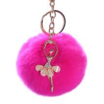 Pompom kulcstartó, strassz balerina díszítéssel pink