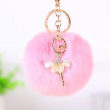 Pompom kulcstartó, strassz balerina díszítéssel rózsaszín