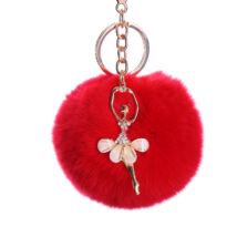Pompom kulcstartó, strassz balerina díszítéssel piros