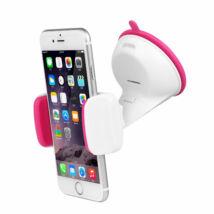 Univerzális, állítható mobiltartó pink/fehér