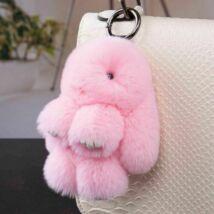Pompom kulcstartó, táskára akasztható plüss nyuszi rózsaszín