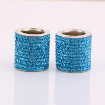 Autó fejtámla strassz dekor gyűrű, kék, 2db