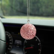 Strassz dekor gömb visszapillantó tükörre, rózsaszín