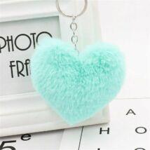 Pompom kulcstartóra, táskára akasztható szív alakú szőrme dísz menta zöld