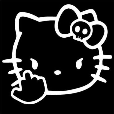 Hello Kitty f*ck you matrica, fehér