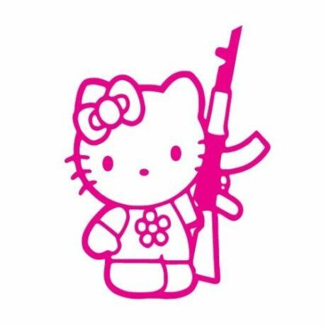 Hello Kitty AK47-essel matrica, pink
