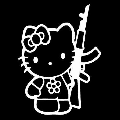 Hello Kitty AK47-essel matrica, fehér