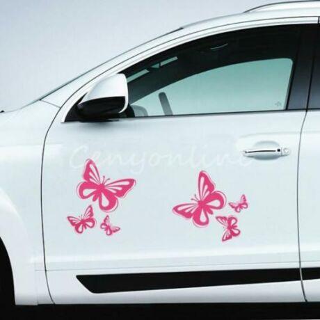 Pillangó matrica, 3db, pink