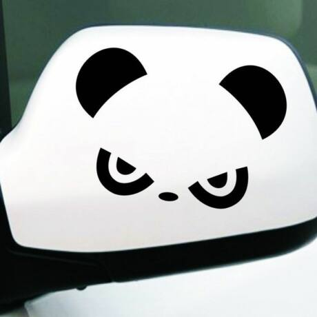 Panda visszapillantó tükör matrica, 2db, fekete