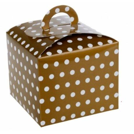 Aranyszínű pöttyös ajándék doboz 10*10 cm