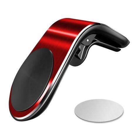 """Mágneses, szellőzőrácsba illeszthető """"L-shape"""" mobiltartó - piros"""