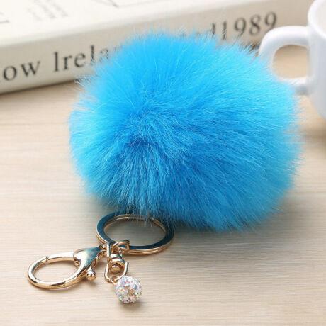 Pompom kulcstartóra, táskára akasztható szőrme dísz azúr kék