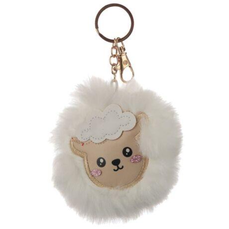 Bárány alakú pompom kulcstartó