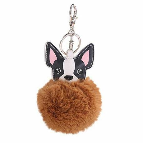 Francia bulldog alakú pompom kulcstartó BARNA