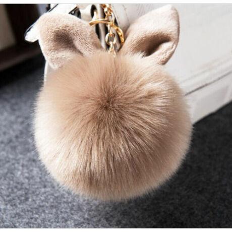 Pompom kulcstartóra, táskára akasztható nyuszi füles szőrme barna